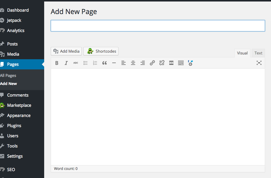 how to add a page on wordpress