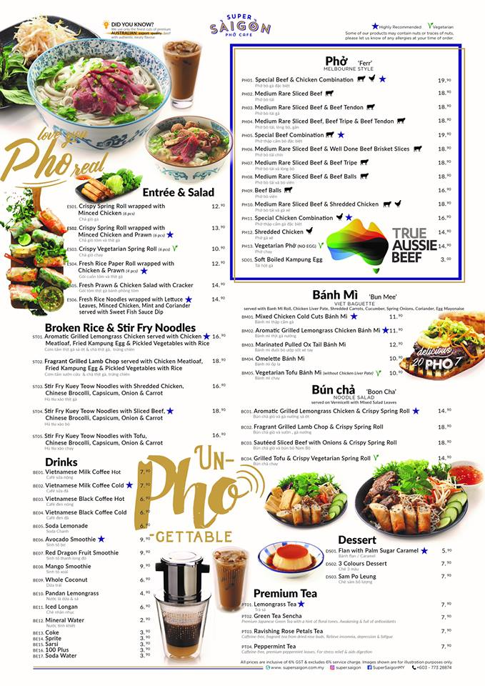 super saigon ttdi menu